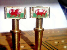 2- Flag of Wales Metal Cribbage Pegs With Black Velvet Pouch USA ChristyMade a