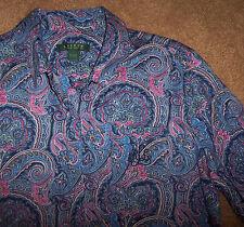 NWT Ralph Lauren Navy Blue/Pink PAISLEY Savile Row Sleep Shirt Nightgown Gown M