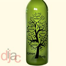 VINYL PERSONALISED FAMILY TREE DECAL for WINE BOTTLE, CANDLE, LANTERN 17.5 x 8cm