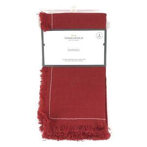 "Threshold Red Cloth Napkins Set of 4 Linen & Cotton 20x20"" Christmas Holiday NWT"