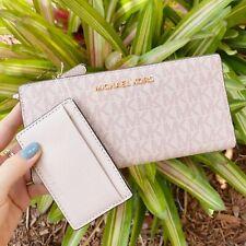 Michael Kors Jet Set Large Carryall Card Case Bifold Wallet Ballet Pink MK