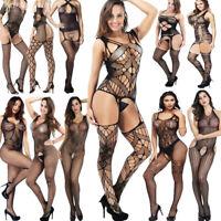 Womens Bodysuit Body Stocking Lingerie Fishnet Babydoll Nightwear Sleepwear Set