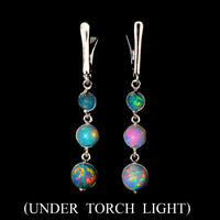 Unheated Round Fire Opal Full Flash 7mm Natural 925 Sterling Silver Earrings