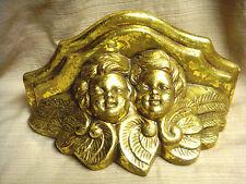 2 ANGEL / CHERUB FACES Gold Ceramic Wall Shelf - SO SWEET