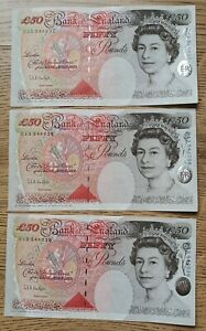 x 3 CONSECUTIVE BANK OF ENGLAND (£50) FIFTY POUND NOTES1994 (UNC) ANDREW BAILEY