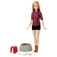 Barbie Sis Campfire Doll Blonde Red Plaid Shirt Top Camping Fire Play Set