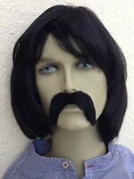 SELF ADH UK BLACK TIGHT CURLY FANCY DRESS WIG /& THICK DROOP BLACK MOUSTACHE