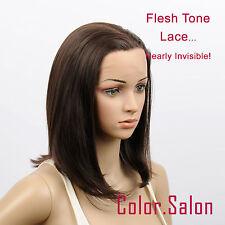 Hand Tied couleur de la peau Lace Front Synthétique Perruque brun foncé 93#4A(F)