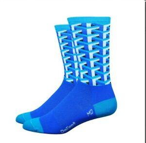 DeFeet Aireator Framework Blue Thin Unisex Cycling Socks Small