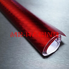 "60""x360"" 3D Carbon Fiber Chrome Red Vinyl Wrap Sticker Decal Sheet Bubble Free"
