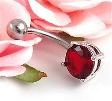 Ruby Red Teardrop Cz Cubic Zirconia Dangle Belly Button Naval Rings Body Jewel