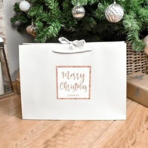 Personalised Merry Christmas Large Luxury Gift Bag Xmas Eve Box Present Wrapping
