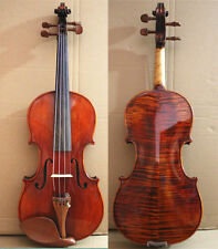 Strad Model  Flame Maple - Hand Made & Varnished 4/4 Violin / Free Case +Bow