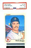 1983 Fleer HOF RC Boston Red Sox WADE BOGGS Rookie Baseball Card PSA 8 NM-MINt