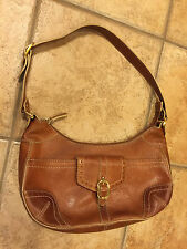 Etienne Aigner Shoulder Bag Purse Camel Brown Pebbled Leather Euc