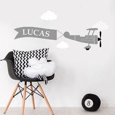 Personalised Plane Cloud Children Bedroom Mural Nursery Wall Sticker Wall Decal