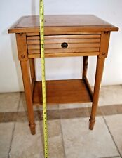 Vintage Bedroom End Table with Drawer and Shelf Maple Wood Spain house Made