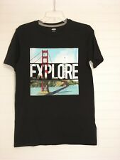 Old Navy Boys Black Graphic T Shirt - Explore - Size XL 14-16 NWT