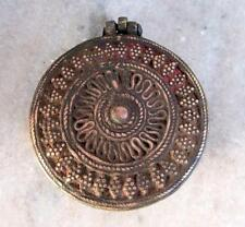 Antique Old Hand Carved Heavy Brass Beautiful Islamic Opium Unique Round Box
