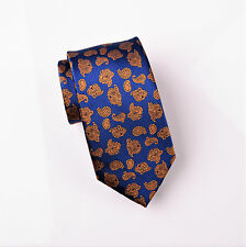 """Bronze Baroque Luxury Blue 3"""" Woven Tie Skinny Formal Mens Business Fashion Knot"""