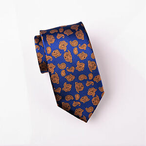 """Bronze Baroque Luxury Blue 3"""" Woven Tie Formal Mens Business Fashion Knot"""