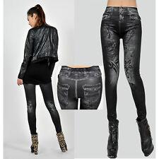 Women's Skull Floral Printed Jeans Look Leggings Skinny Pants Stretchy Jeggings