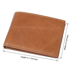 Augus Natural Cow Leather Simple Wallets  For Men Money Credit Card Holder Purse