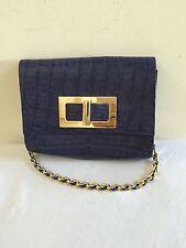 PAOLA DANGOND Blue Crocodile Gold Chain Shoulder Bag Handbag