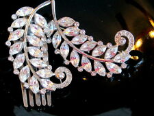 VINTAGE HAIR CLIP FLIP COMB FEATHER FERN PIN BROOCH FRENCH PASTE RHINESTONE SET