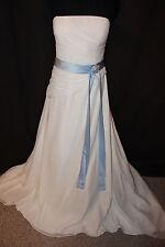 NWT Size 18 Light ivory/Sky blue long chiffon bridal gown, wedding dress/bolero