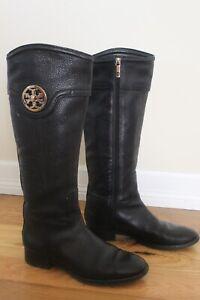 "Tory Burch 16"" Shaft Black Leather Gold Medallion Logo Riding Boots Women's 9M"