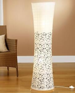 Reispapierlampe Papier Lampe mit floralem Muster schwarz/weiß Trango 1240-026