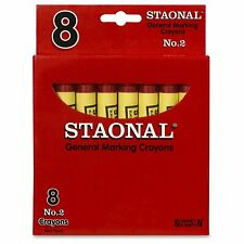 Crayola 20038 Staonal No. 2 Red Marking Wax Crayons 8 Pack NEW!