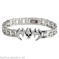 Charm Infinity Men Stainless Steel Batman Watchband Bracelet Wristband Bangle