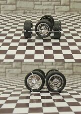 FOUR  MATCHING WIDE TIRES,AXLES and RIMS  1/24-1/25 G SCALE