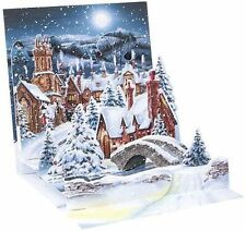 Midnight Village Christmas Card 3D Pop-Up Holiday Card Up With Paper