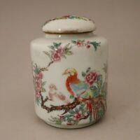 Chinese old porcelain Lid jar Pastel flower and bird painting porcelain pot Stor