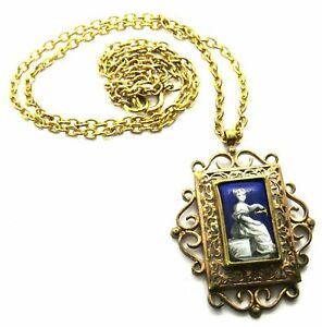 Antique Yellow Metal Necklace & Pendant With Enamelled Panel In Centre