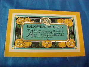 Early 20thc HALLOWEEN PALMISTRY Postcard w FORTUNE Jack O Lantern Design