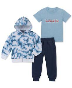 New Calvin Klein Little Boys 3-Pc.Hoodie, Shirt & Joggers Set Size 5 MSRP $87.50