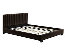 Queen Size Bed Frame Brown Faux PU Leather Wooden Slats Base