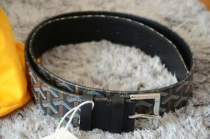 GOYARD Monogram BLACK Leather Belt SILVER Buckle sz 85 / 34 fits 28-30 Monogram