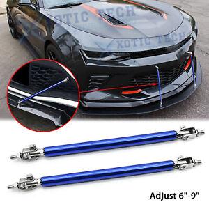 "For Chevy Camaro Adjustable 6""-9"" Blue Front Bumper Racing Splitter Strut Bars"