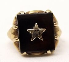 Vtg 10K Gold Order of the Eastern Star Signet Ring Sz 5.25 Black Onyx Mason