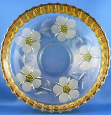 Antique 1920's Heavy AMBER Crystal WHEEL CUT ENGRAVED Floral Bowl VG - in Aust.