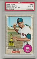 1968 TOPPS #61 REGGIE SMITH, PSA 9 MINT, SET BREAK -ALL-STAR ROOKIE, RED SOX