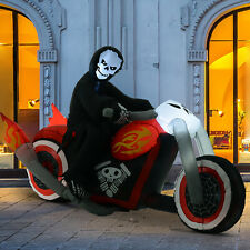 1.8m Inflatable Grim Reaper Motorcycle Halloween Decoration Yard Lighted