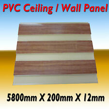 "NEW 10 PIECE PVC CEILING / WALL PANEL 5800 x 200 x 12 ""WOOD GLOSS"""