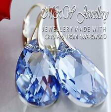 925 SILVER EARRINGS PEAR/ALMOND Light Sapphire CAL-22mm CRYSTALS FROM SWAROVSKI®