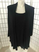 Women's Avenue 22/24 Black Beaded 2in1 Summer Stretch Comfort Tee Tunic